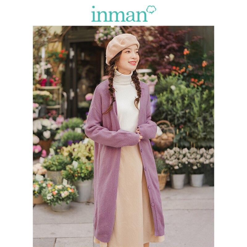 INMAN Spring Autumn Minimalism Ribbing Deep V-neck Elegant Solid Long Sleeve Women Medium Long Cardigan