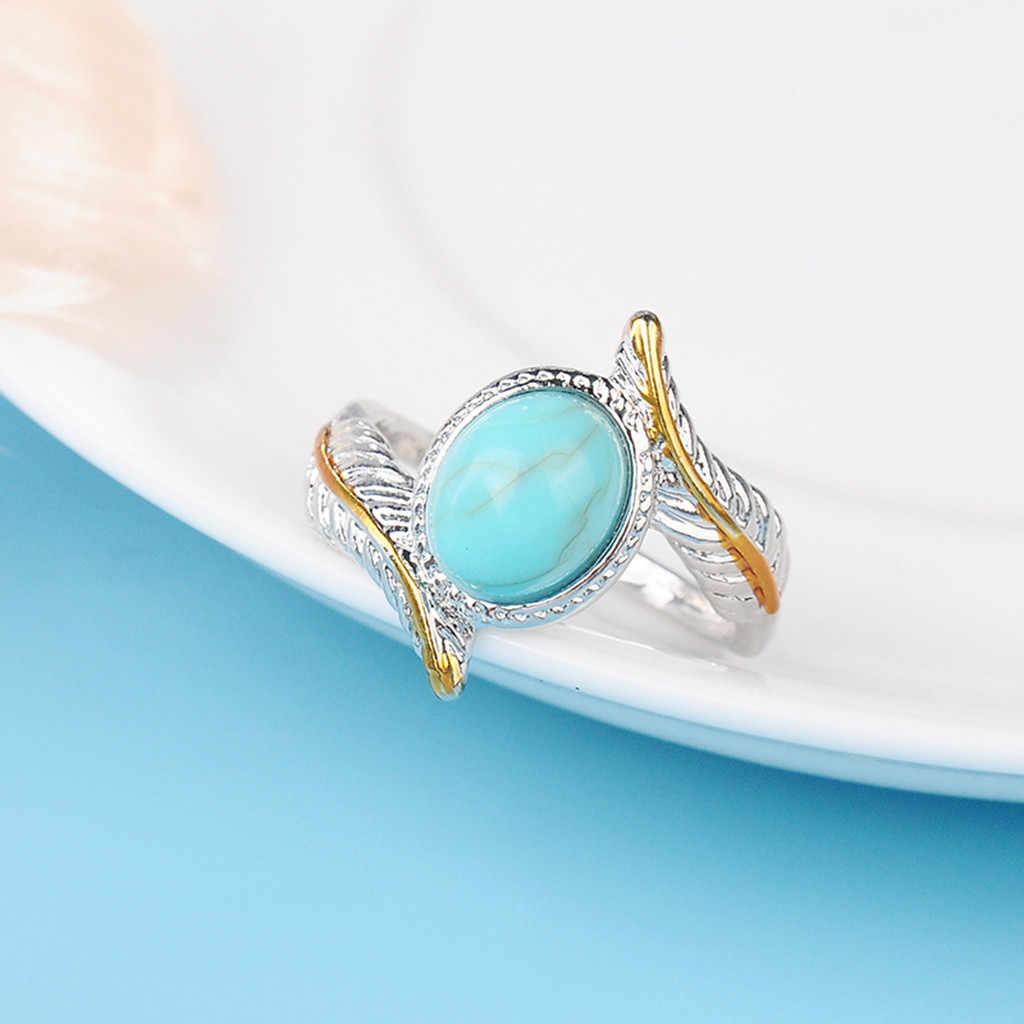 Luxury Creative TurquoiseFeather แหวนผู้หญิงเครื่องประดับงานแต่งงานแหวนสำหรับแหวนผู้หญิงชุดผู้หญิงแหวน #20