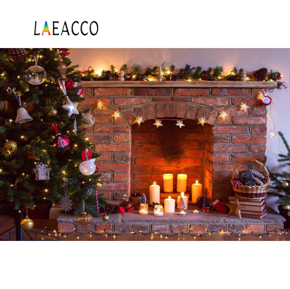 Laeacco Christmas Backdrops Tree Candle Bell Bauble Star Wreath Brick Fireplace Child Photo Backgrounds Photocall Photo Studio in Background from Consumer Electronics