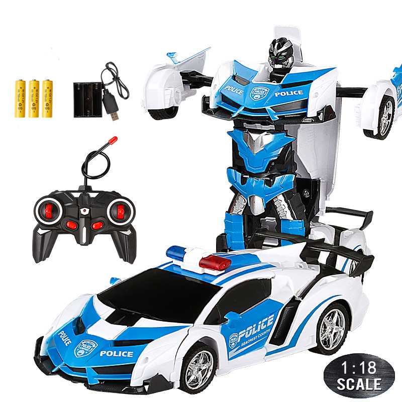 24CM 1:18 RC Car Toy Remote Transformation Robot One Key Deformation Electric Remote-controlled Toy Police Cars for Kids Boy E01