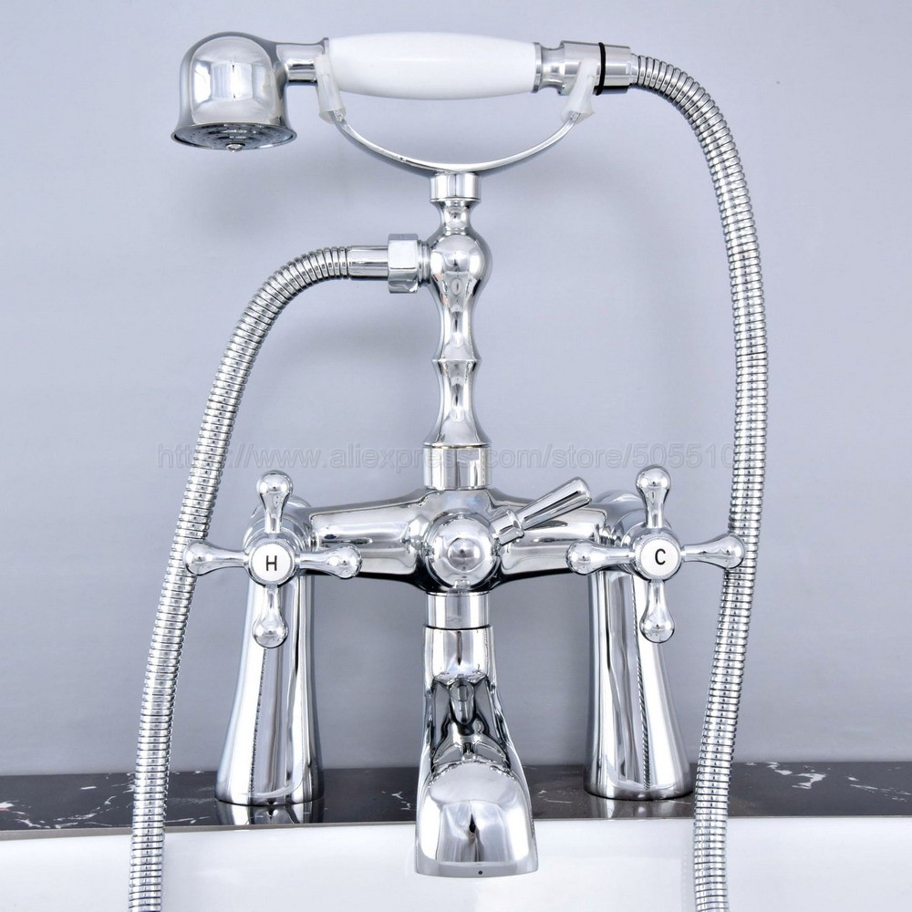 Deck Mounted Polished Chrome Double Handle Bathroom Bathtub Faucet with Handheld Spray Shower Hot and Cold Water ztf771 in Bathtub Faucets from Home Improvement