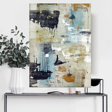 Handmade thick knife abstract oil painting Earthy yellow blocks Abstract on Canvas Painting Picture Decor Oil artwork