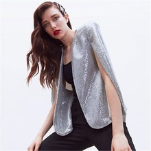 Autumn elegant Sequin Patchwork Women's Blazer Coa