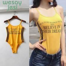 Jumpsuit ins vintage spaghetti strapless bodysuit women combinaison femme sexy Letter print bodysuits top