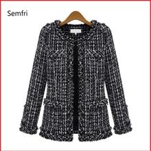 Semfri Coat Women Winter Autumn Basic Jacket Black and White
