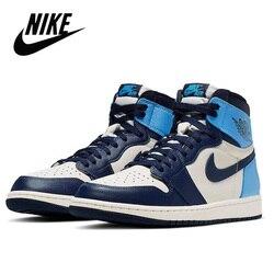 Nike Air Jordan 1 Retro Hohe OG herren-Basketball-Sneakers Unisex Frauen Atmungsaktive Nike Air Jordan 1 Obsidian Originial