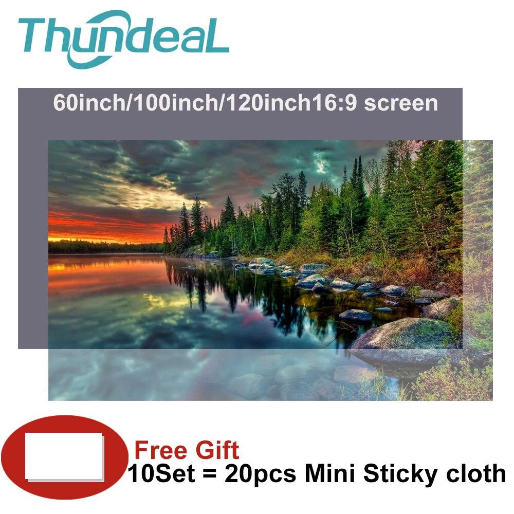 Thundeal экран для проектора высокая яркость светоотражающая ткань проекционный экран 100''диагональ 60 84 120 130дюймов соотношение сторон 16:9
