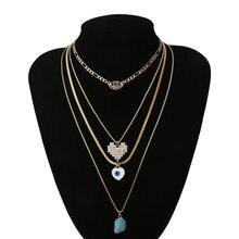 Многослойное ожерелье luokey в стиле ретро богемное каменное