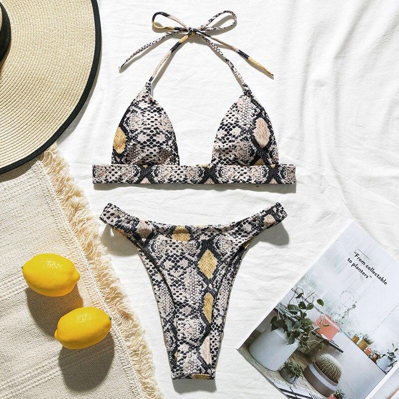 H27732997f10544d7a034bf8fec3e2975G Snake print bikini Push up swimsuit female bathing suit String thong Brazilian bikini 2019 High cut swimwear women Sexy biquini