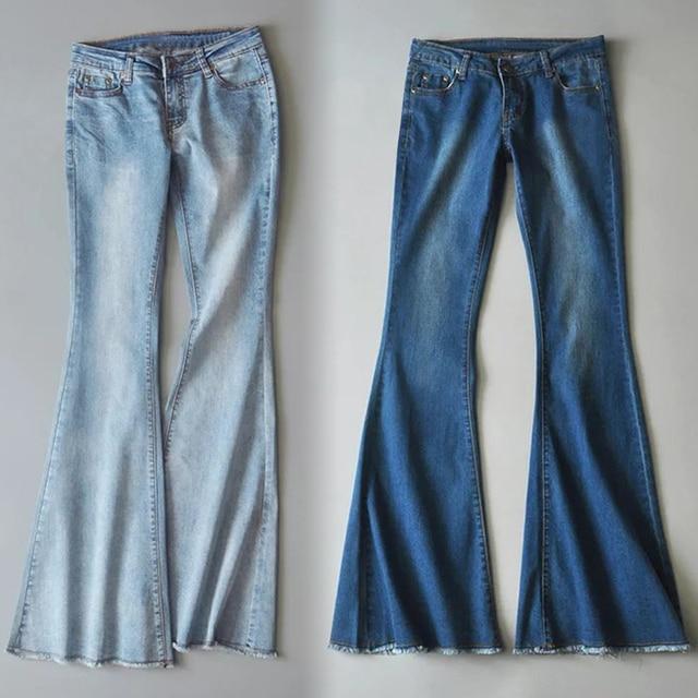 2020 High Waist Jeans Mom Boyfriend Flare Jeans For Women Black Denim Skinny Jeans Woman Wide Leg Female Pants Plus Size Ladies 6