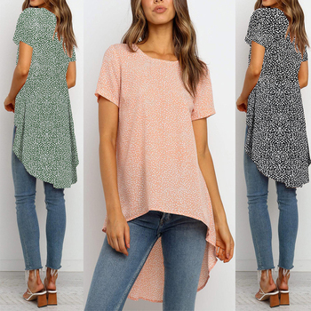 Leaf Printed Woman Long Tops Blouses Summer Asymmetrical Short Sleeve Ladies Blouse And Shirt Casual Round Neck Female D30