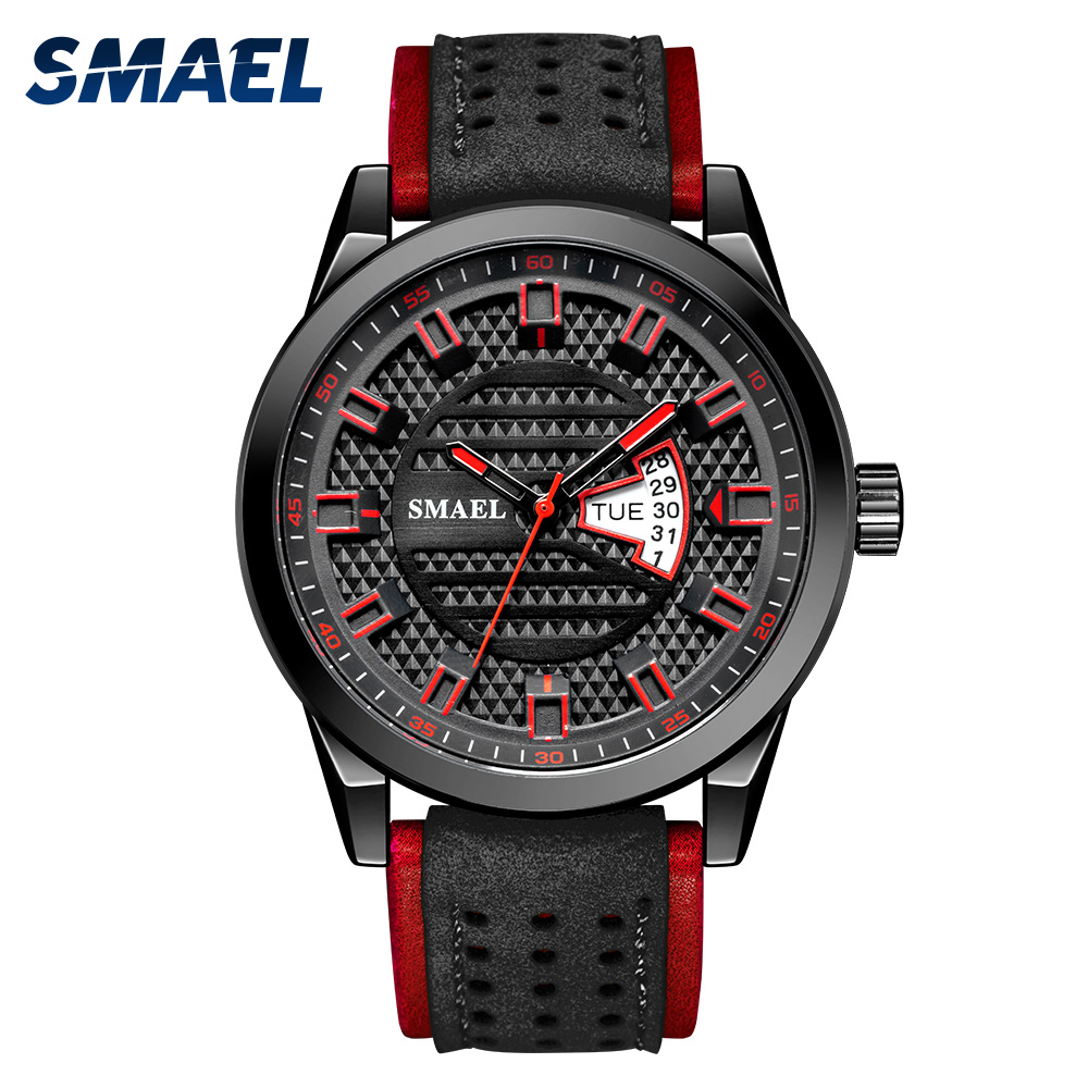 SMAEL Watch Men Quartz Watch Japan Movt Waterproof Clock Stainless Steel Case Leather Wristwatches 9120 Reloj Hombre Watches Men