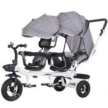 Двойные Поворотные трехколесные Детские коляски, универсальные детские коляски для путешествий, Детская двойная коляска для детей, детска...