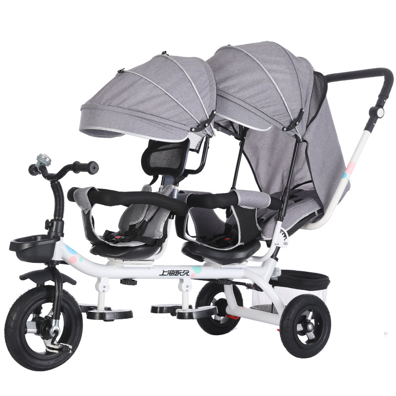 Double Twin Rotatable tricycle Baby Strollers Universal Travel Baby Pram Children Double Seat Crriage Kids Push Trike