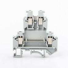 Bloco de terminais do trilho do ruído UKK-3 conexão de parafuso da montagem do trilho do ruído condutor de fio de dois níveis elétricos 10 pces bloco de distribuição