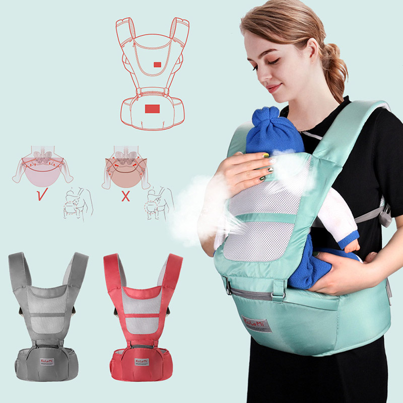 Baby Carrier Summer Infant Hipseat Sling With Breathable Mesh Cover Infant Kid Wrap Labor-aving Sling For Baby Nursing Cover
