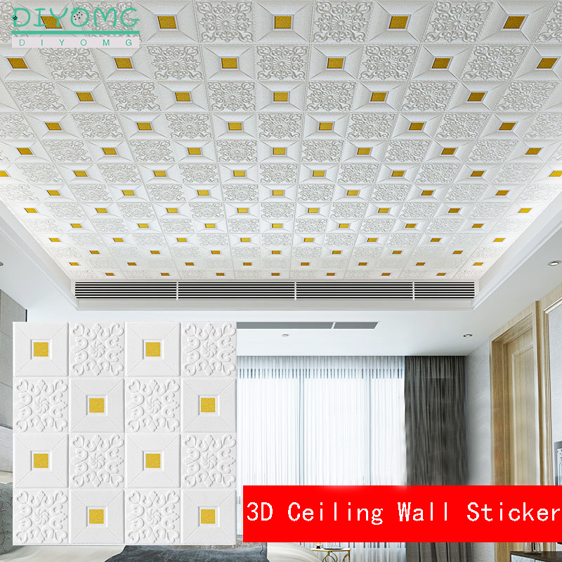 3D Roof Ceiling Wallpaper PVC Waterproof Self-adhesive Foam Wallpaper Living Room Bedroom Roof Ceiling Contact Paper Decor Decal