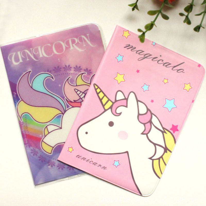1 Pcs Kawaiii Unicorn Travel Leather Passport Holder Card Case Protector Cover Bags Passport Cover For Girls Document Bag