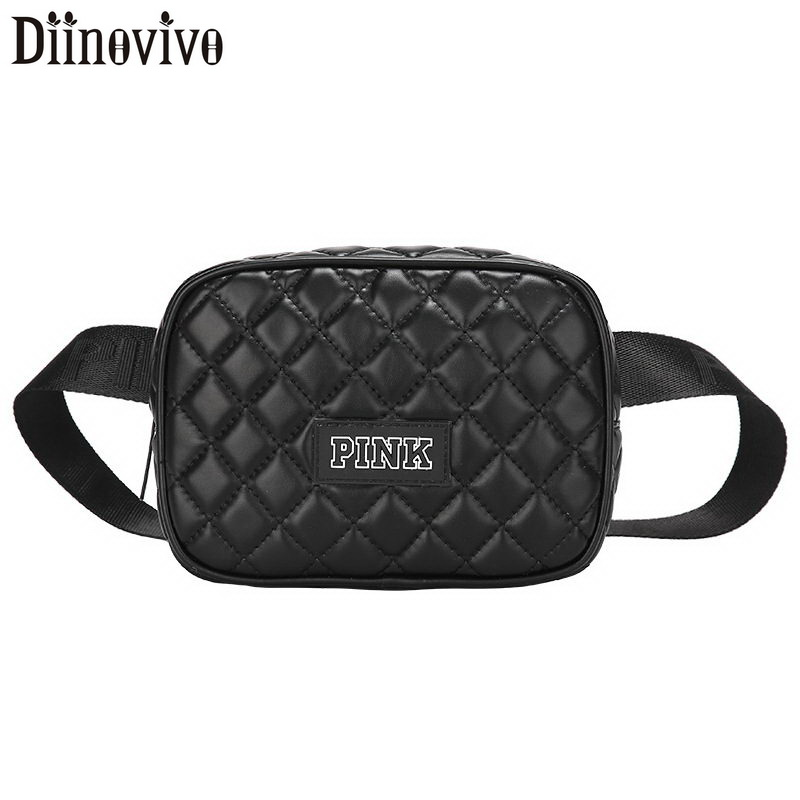 DIINOVIVO Quilted Waist Bag For Women 2020 PU Leather Fanny Pack Women Letter Fanny Waist Packs Chest Bag Female Bag WHDV1184