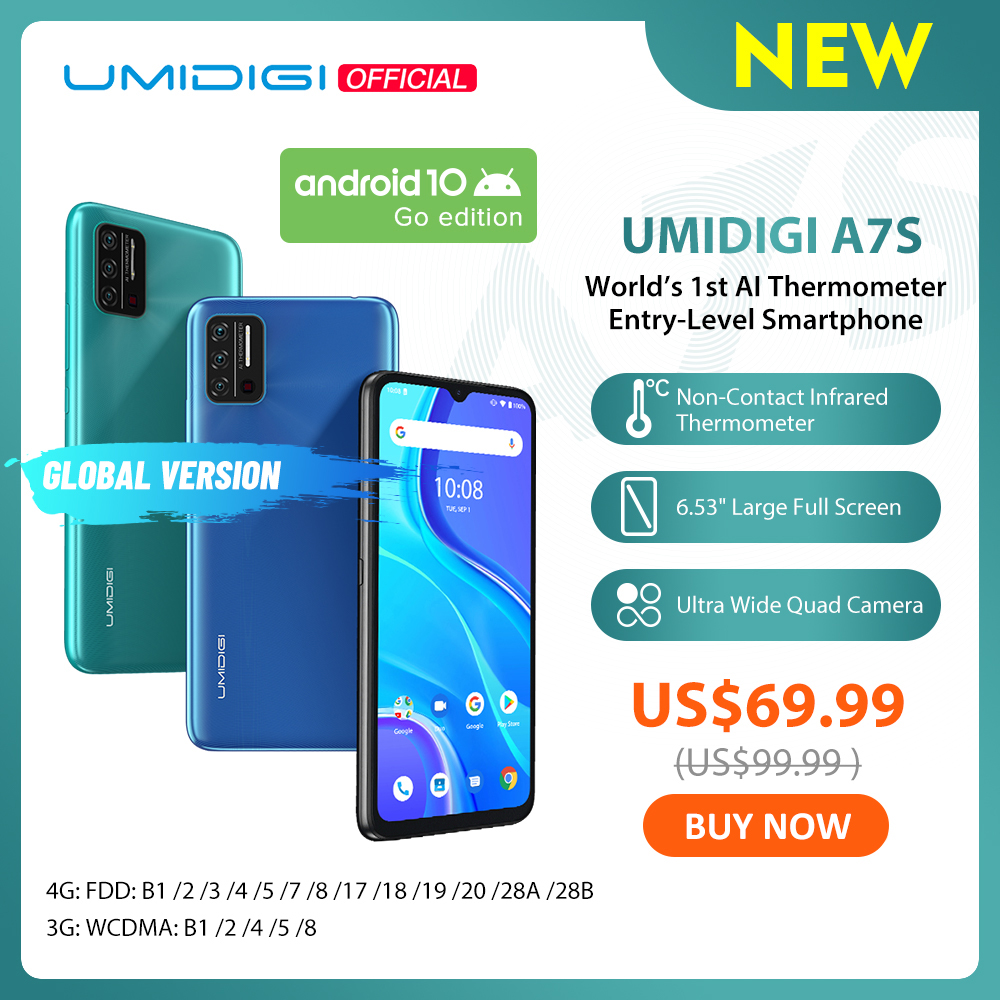 "Pre-Sale UMIDIGI A7S 6.53"" 20:9 Large Full Screen 32GB 4150mAh Triple Camera Cellphone Infrared Temperature Sensor Type C(China)"