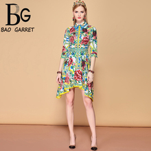 Baogarret 2019 Summer Fashion Runway Asymmetrical Dress Womens Half Sleeve Rose Floral Print Vintage Elegat