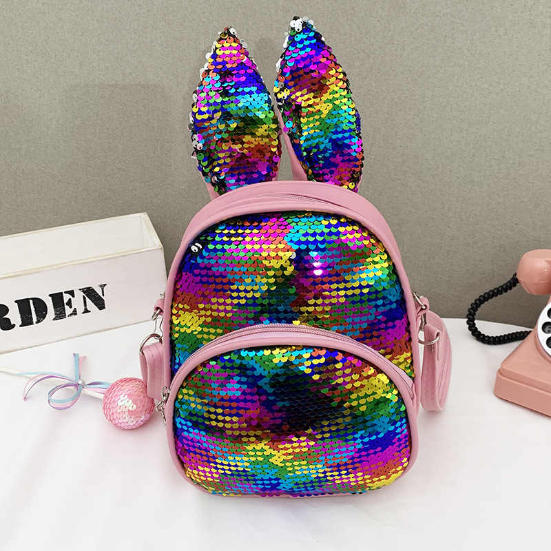 Fashion Cute Backpack Handbags For Girls Travel Women Cartoon Printing Shoulder Bags Sequins Leather Luxury Crossbody Bag