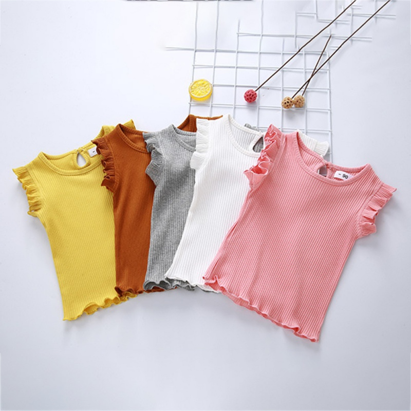 Children Girl Cute Clothes Casual Solid 5 Color Sleeveless Round Neck Ruffled Bottoming Shirt Girls Top