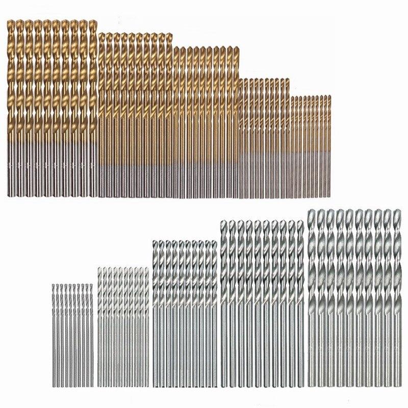 50 sztuk pokryte tytanem wiertła High Speed wiertła stalowe Bit prosto Shank wiertła Twist wiertła 1 / 1.5 / 2 / 2.5 / 3MM
