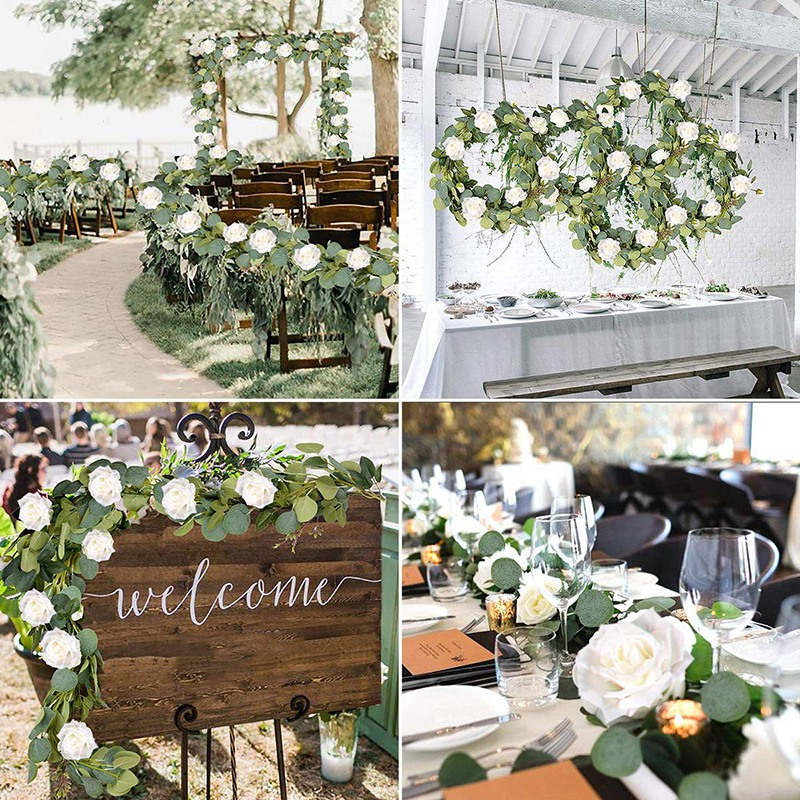 Eucalyptus Garland (8 Pcs White Roses Among Eucalyptus Leaves), Flower Garland For Wedding Arch Backdrop Decor, Table Runner, Ba