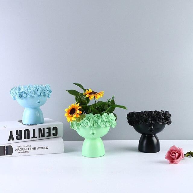 Nordic Home Decoration Resin Vase Statue Sculpture Makeup Brush Holder Storage Box Pen Holder Creative Flower Pot Art Supplies 2