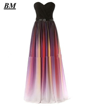 2019 Sexy Sweetheart Gradient Chiffon Prom Dresses Beaded Long Ombre Formal Evening Dress Party Gown Vestidos De Gala BM07