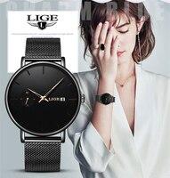LIGE kobiet zegarki Top marka luksusowe panie pasek z siatki Ultra cienki zegarek ze stali nierdzewnej wodoodporny zegar zegarek kwarcowy Reloj Mujer