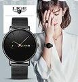 LIGE, женские часы, Лидирующий бренд, Роскошные, для девушек, с сетчатым ремешком, ультра-тонкие часы, нержавеющая сталь, водонепроницаемые час...