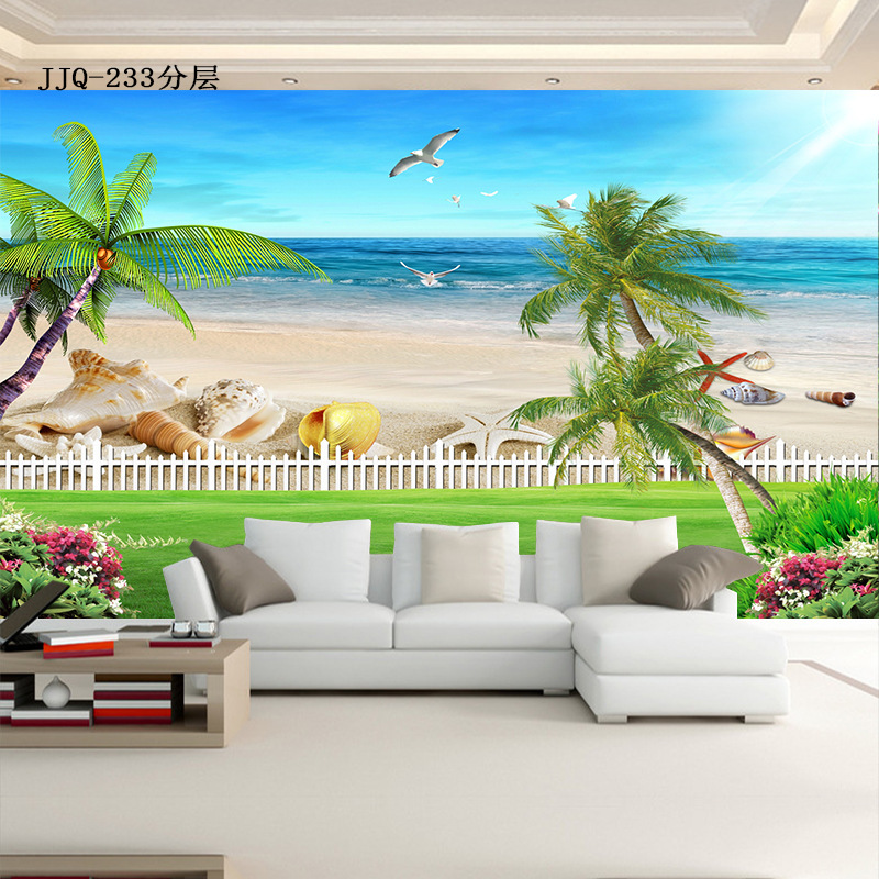 3D Mediterranean Theme Wallpaper Living Room Sofa TV Background Wallpaper Beach Seaside Scenery Mural