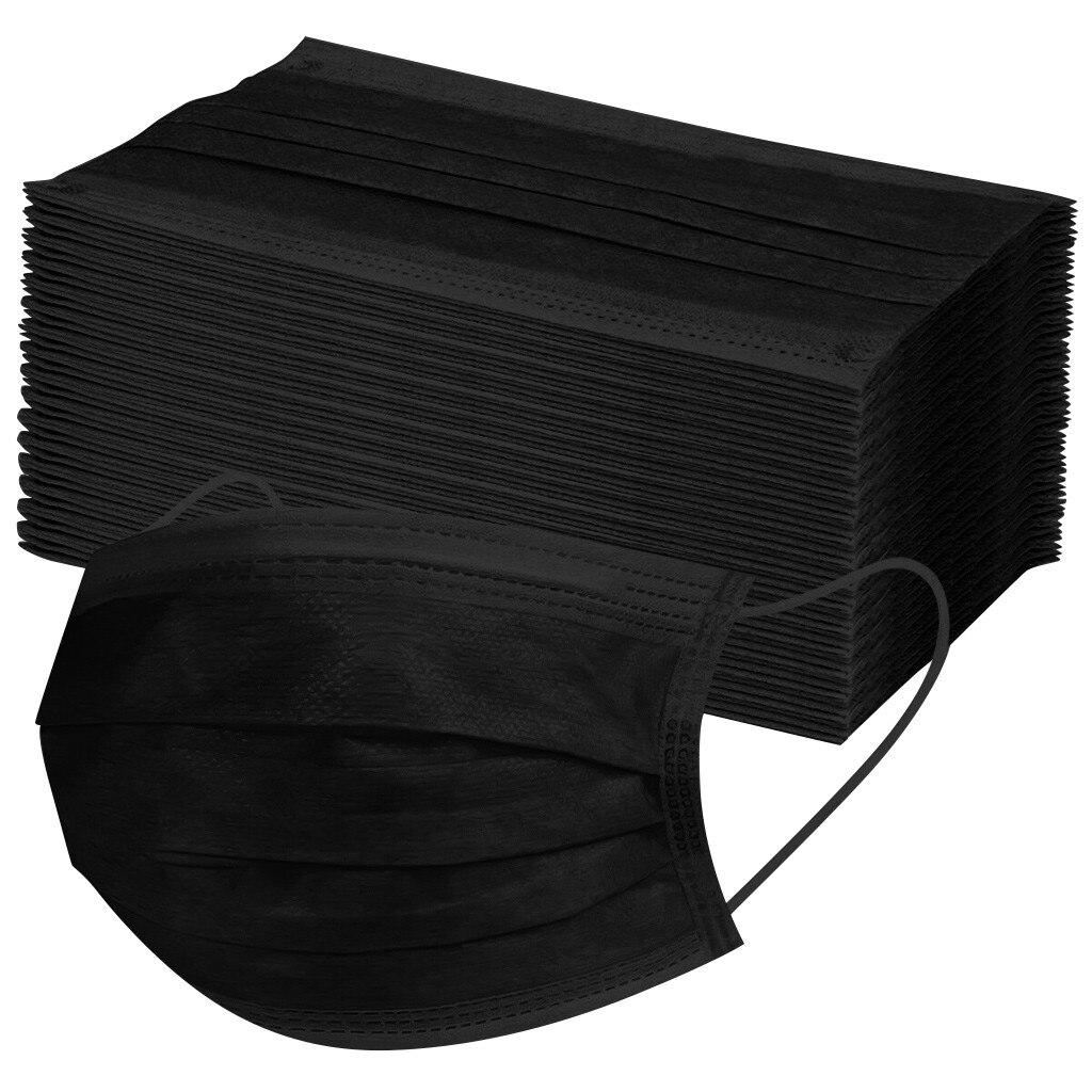 10/50/100/200 шт одноразовые маски нетканые маски для лица 3 слоя слоев фильтр Анти-пыль дышащие взрослые маска для полости рта черного цвета