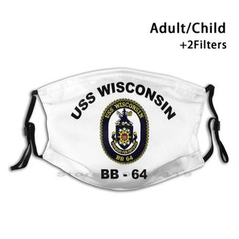 Uss Wisconsin ( Bb - 64 ) Crest Design Anti Dust Filter Washable Face Mask Kids 16 Inch Battleship Bb 61 Bb 63 Bb 62 Bb 64 image
