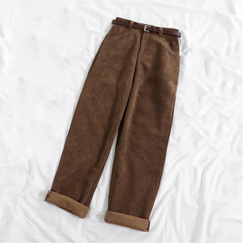 Lucyever New 2021 Women Spring Corduroy Pants High Waist Vintage Korean Wide Leg Pants Elegant Belt Loose Cotton Streetwear 5