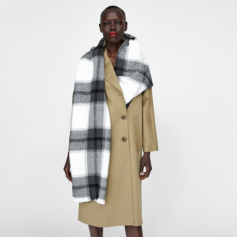 New Cashmere-like Grey-white Checked Scarf Cabinet With Thicker Thermal Shawl Scarves
