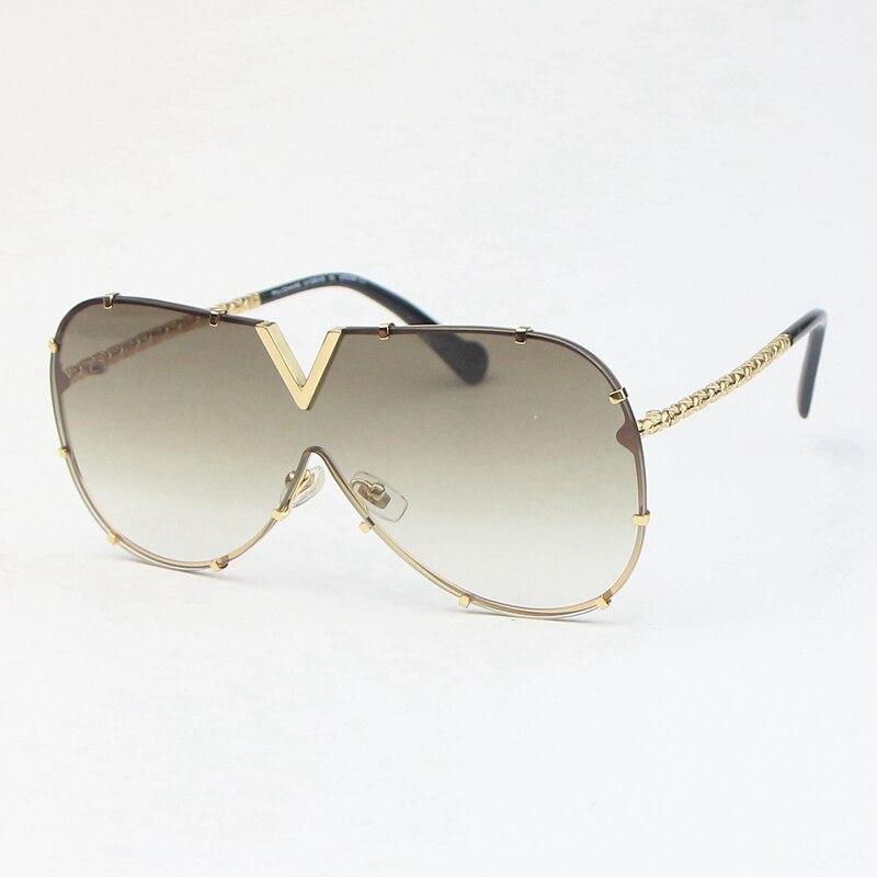 2020 new Men Sunglasses DRIVE Golden metal oval Large frame fashion Women's glasses Gradient brown lenses Anti-UV400