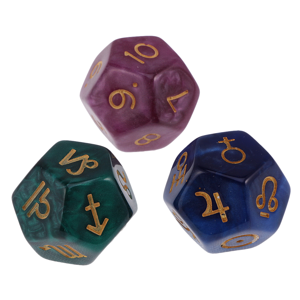 3pcs Astrological D12 Dices Fortune Telling Divination Tools 12 Sided Polyhedral Dice Toy