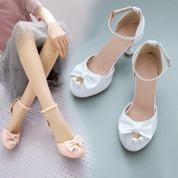 Fashion Sweet Lovely Stiletto Lolita Shoes Thin Heels Butterfly-knot White Pink Party Wedding Pumps Women Shoes 34-43