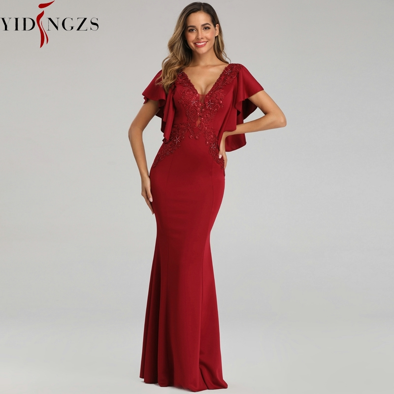 YIDINGZS See-through V-neck Appliques Beaded Evening Dress Elegant Party Long Dress YD16336