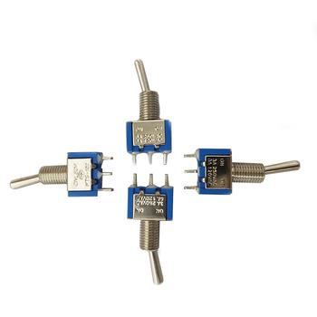 Niebieski 6A 120VAC 3A 250VAC 3 pozycja SPST przełączniki zatrzaskowe wysokiej jakości Mini przełącznik przełączniki używane jako przełącznik światła silnika tanie i dobre opinie goni CN (pochodzenie) Z tworzywa sztucznego 12 + y Akcesoria do serwomechanizmów 20*8*8MM Pojazdów i zabawki zdalnie sterowane