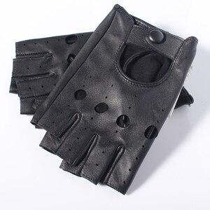 Image 5 - Gours Spring Womens Genuine Leather Gloves Driving Unlined Goatskin Fingerless Gloves Fingerless Gym Fitness Gloves GSL061