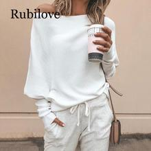 Rubilove Batwing sleeve casual loose sweater tops pullover Fashion autumn off shoulder knitted Solid grey white knitwear
