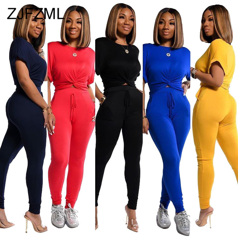 Neon Yellow 2 Piece Outfits Summer Clothes For Women O Neck Short Sleeve Crop Top And Skinny Pant Casual Sportswear Matching Set