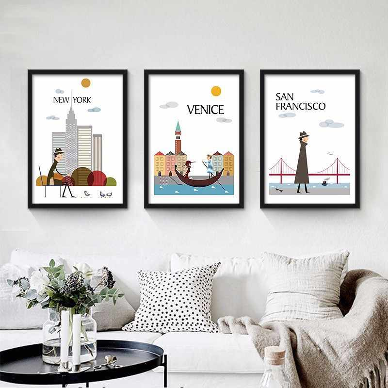 Nordic Decoration Painting New York Rome Venice World Famous Cities Wall Pictures for Living Room Kitchen Poster Art Frameless
