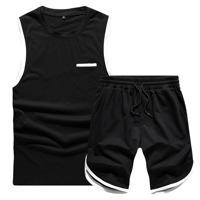 US/Euro Men T-Shirts Summer Suits Brand Tee Shirt Casual Sportswear Sleeveless Tops Outfits Joggers Clothing Men Plus Size S-2XL
