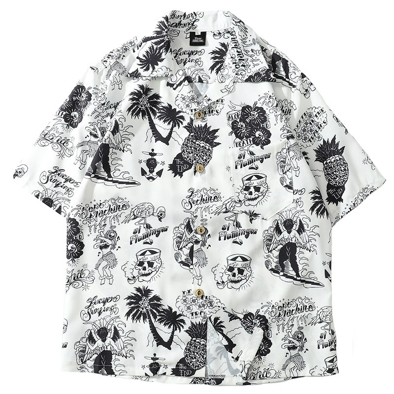 2019 Summer Men  Hip Hop Shirt Streetwear Men Hawaiian Shirts Graffiti Skull Harajuku Summer Beach Shirt Casual Tops