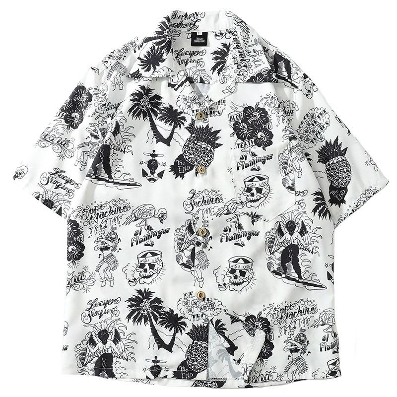 2019 Summer Men Hip Hop Shirt Streetwear Men Hawaiian Shirts Graffiti Skull Harajuku Summer Beach Shirt Casual Tops